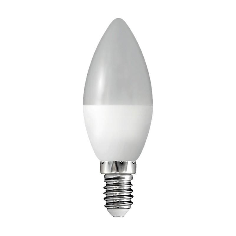 Лампа светодиодная LED E14, свеча, 8Вт, 230В, холодный белый свет
