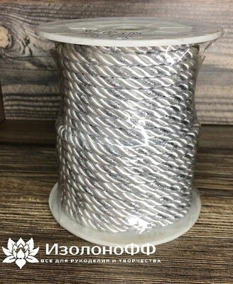 Шнур декоративный 5мм, серебро (1 метр)