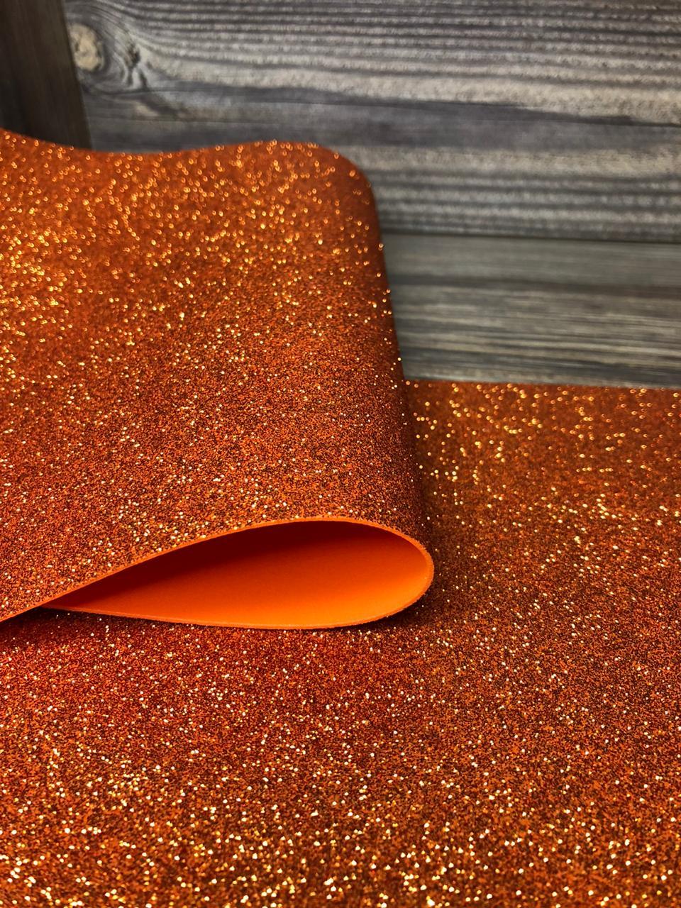 Фоамиран глиттерный 2мм 20х30см №003(оранжевый)