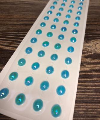 Полубусины-овал на клеевой основе, Голубые, 10х8 мм