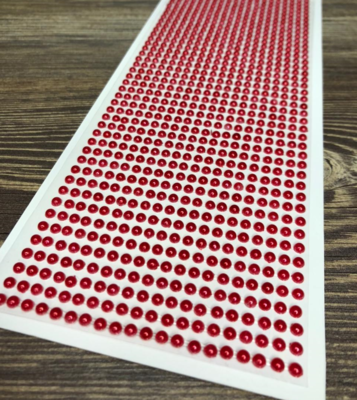 Полубусины на клеевой основе, Красные, 4мм