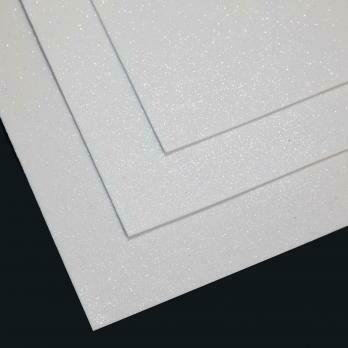 Фоамиран глиттерный, толщина 1.5мм, 60x70см. Белый
