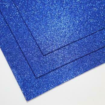 Фоамиран глиттерный, толщина 1.5мм, 60x70см. Лазурно-синий
