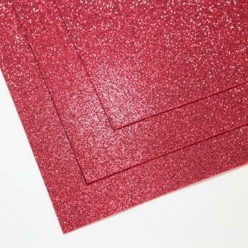 Фоамиран глиттерный, толщина 1.5мм, 60x70см. Малино-красный