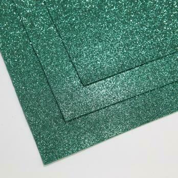 Фоамиран глиттерный, толщина 1.5мм, 60x70см. Нефрит