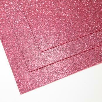 Фоамиран глиттерный, толщина 1.5мм, 60x70см. Холодный розовый