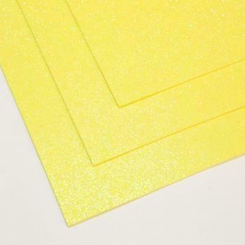 Фоамиран Мерцающий, толщина 1.5мм, 60x70см. Лимонный
