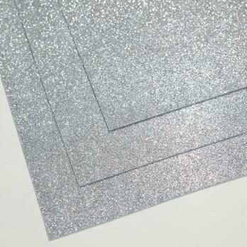 Фоамиран глиттерный, толщина 1.5мм, 60x70см. Светлое серебро