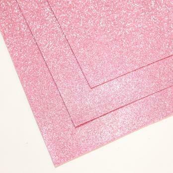 Фоамиран глиттерный, толщина 1.5мм, 60x70см. Светло-розовый