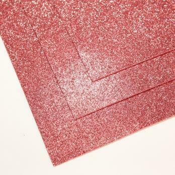 Фоамиран глиттерный, толщина 1.5мм, 60x70см. Теплый розовый
