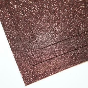Фоамиран глиттерный, толщина 1.5мм, 60x70см. Шоколад