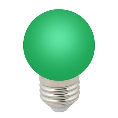 Лампа декоративная светодиодная LED E27, шар, матовая, 1Вт, зеленый