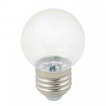 Лампа декоративная светодиодная LED E27, шар, прозрачная, 1Вт, теплый белый (3000К)