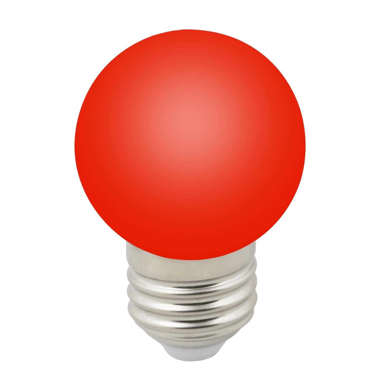 Лампа декоративная светодиодная LED E27, шар, матовая, 1Вт, красный