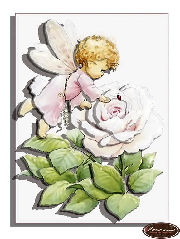 Ангел розочка, Размер: 10*12