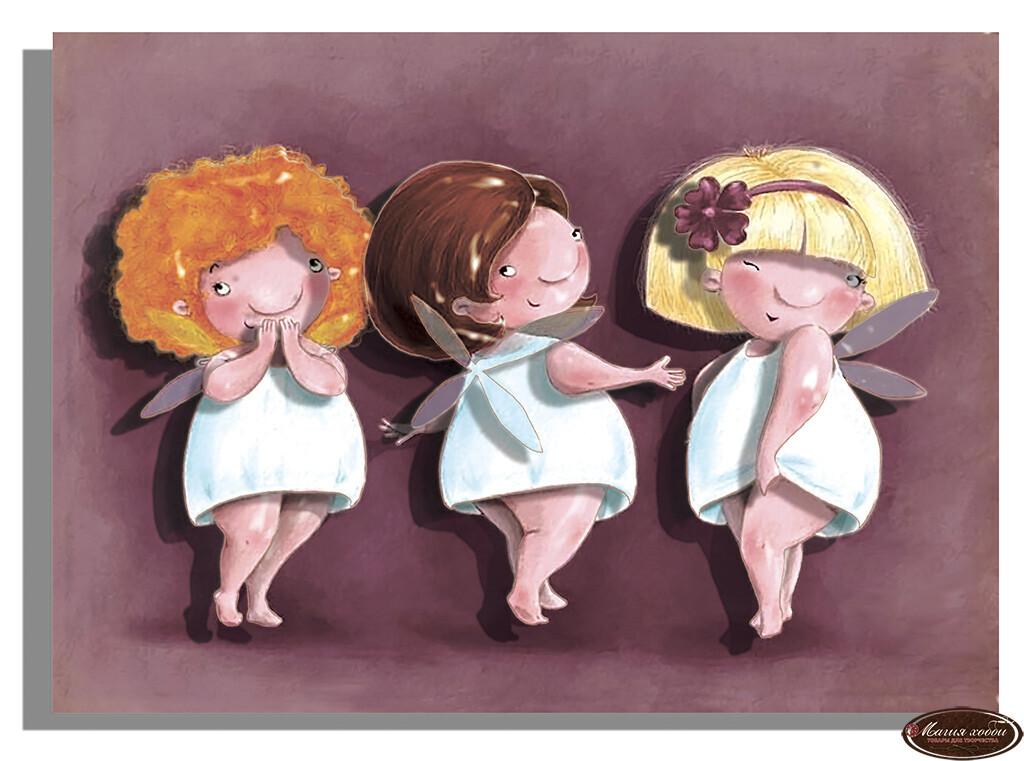 Три подружки, Размер: 13*18