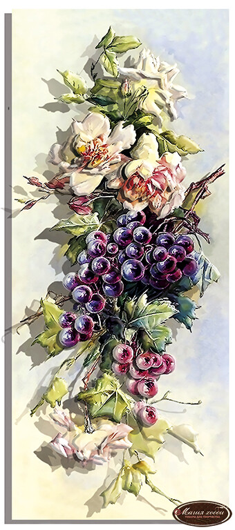 Розы и тёмный виноград, Размер: 20*47