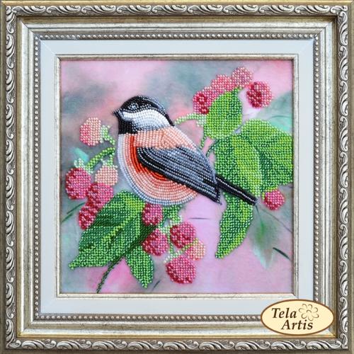 Птичка в малине, 19х19см.