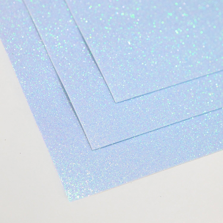 Фоамиран глиттерный, толщина 1.5мм, 60x70см. Бледно-голубой