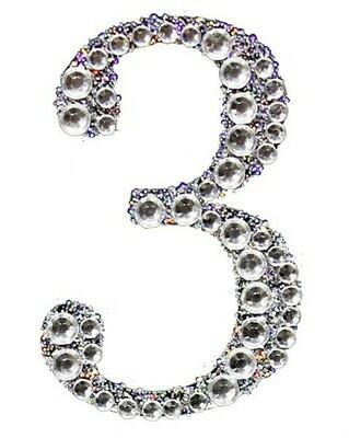 "2"" Rhinestone Letter ""3"" Sticker"
