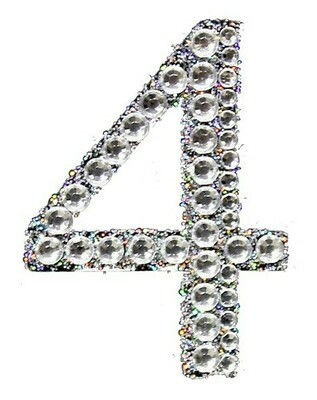 "2"" Rhinestone Letter ""4"" Sticker"