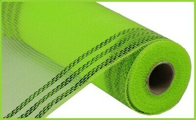"10.25""X10YD Border Stripe Metallic Mesh:  Lime Green + Lime Green"