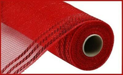 """10.25""""X10YD Border Stripe Metallic Mesh:  Red + Red"""