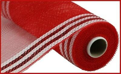 "10.25""X10YD Border Stripe Metallic Mesh  Red + White"