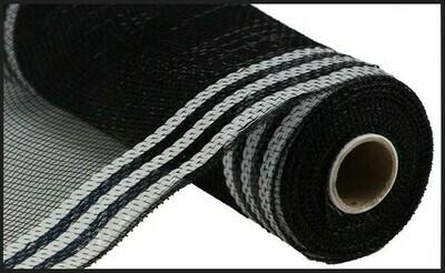 "10.25""X10YD Border Stripe Metallic Mesh:  Black + White"