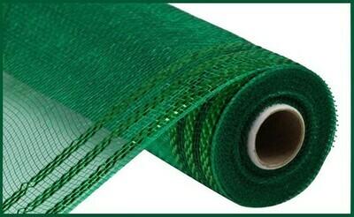 "10.25""X10YD Border Stripe Metallic Mesh:  Emerald + Emerald"