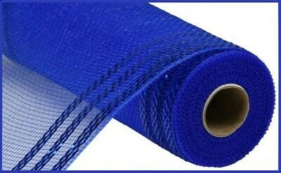 """10.25""""X10YD Border Stripe Metallic Mesh:  Royal Blue + Royal"""