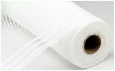 """10.25""""X10YD Border Stripe Metallic Mesh:  White + White"""