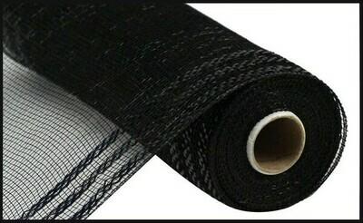 "10.25""X10YD Border Stripe Metallic Mesh:  Black + Black"