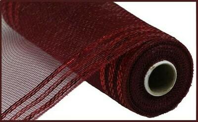 "10.25""X10YD Border Stripe Metallic Mesh:  Burgundy + Burgundy"