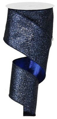 "2.5""X10yd Glitter On Metallic Wired Ribbon - Navy"