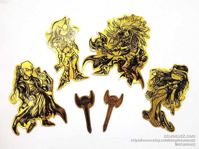 Gold Foil YGO stickers: Ishtar Fam