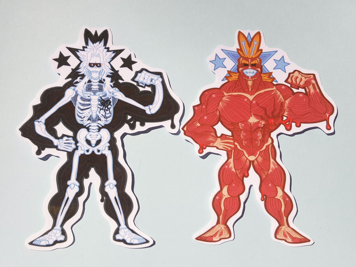 BNHA All Might Muscle & Skeleton Sticker Set