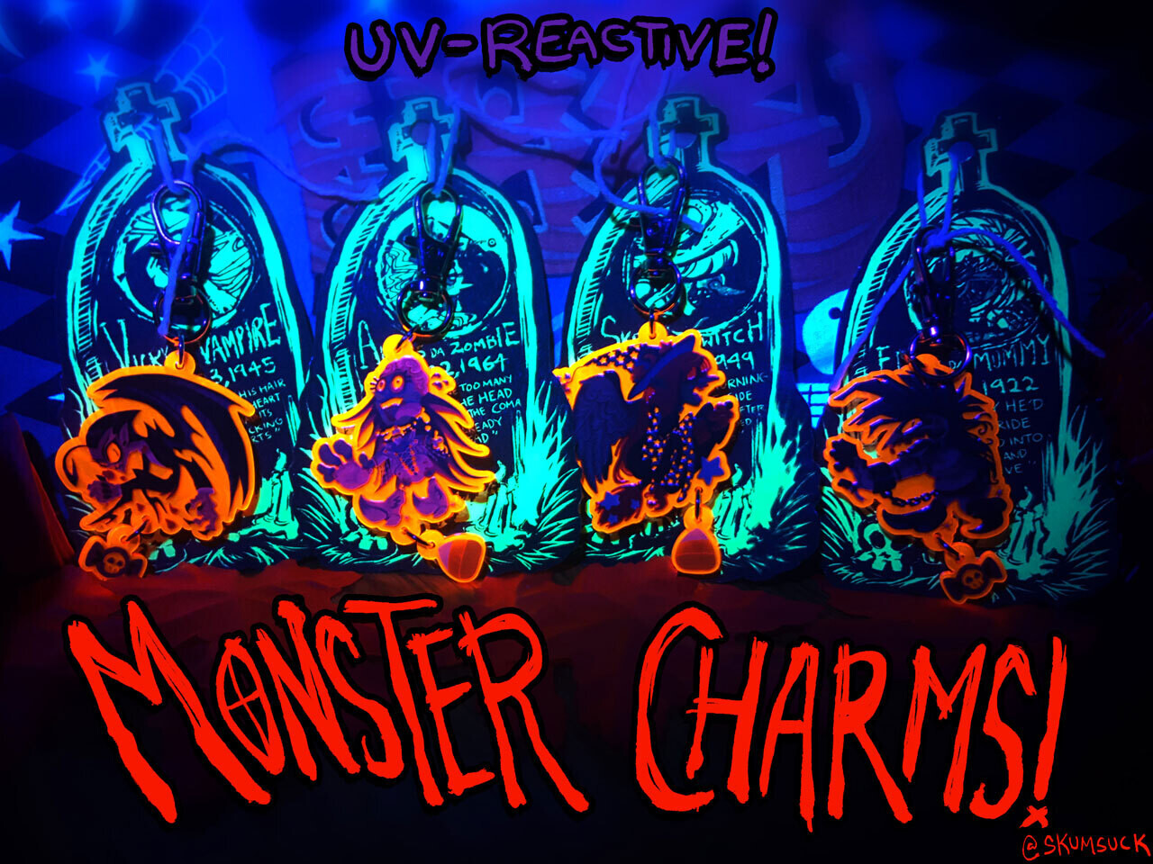 """Classic Horror Monsters 1.5"""" CHARMS!!"""