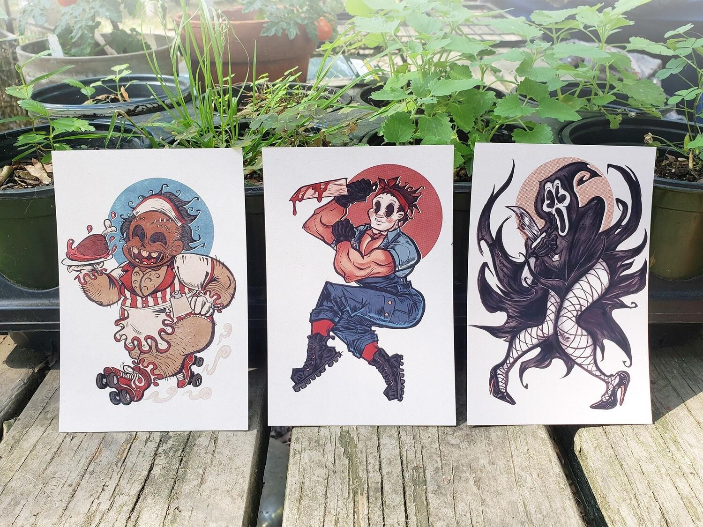 Horror Slasher Pinup Prints (4x6) (8.5x11)