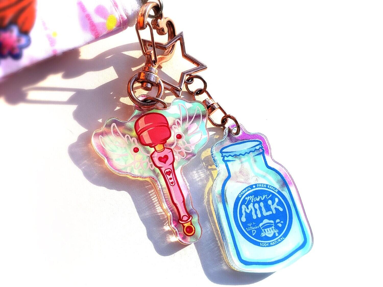 "Magical Girl Wand & Mann Milk charms! (2"")"