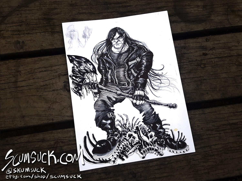 Dethklok Nathan: 9x12 ink drawing