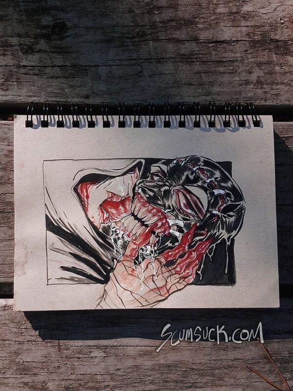 FACEPEELER: 6x9 ink drawing
