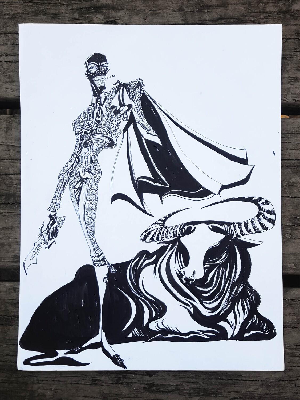 MATADOR SPY: 9x12 ink drawing