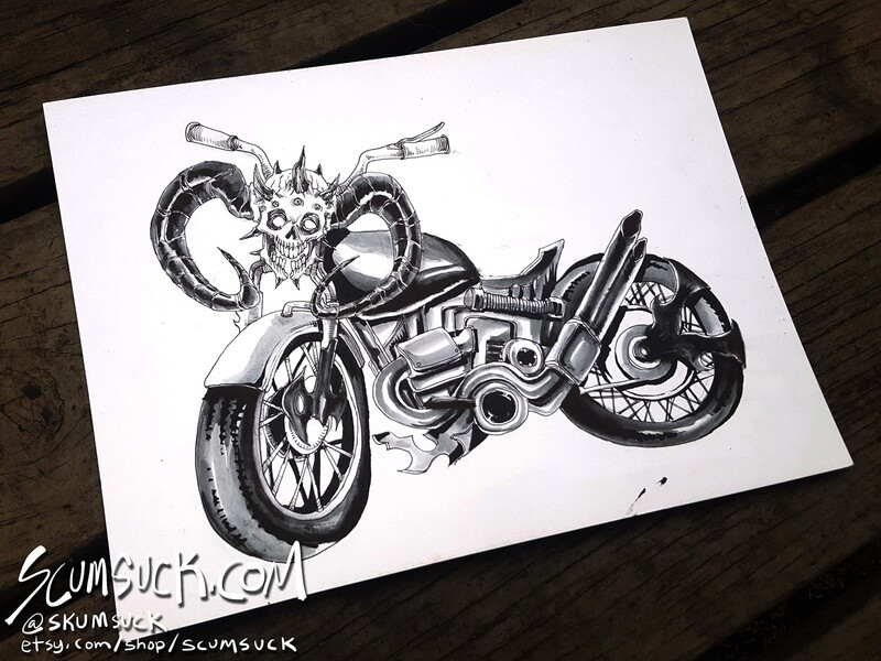 Dethklok Facebones: 9x12 ink drawing