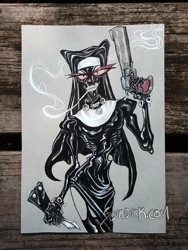 Nun  Spy: 6x9 ink drawing