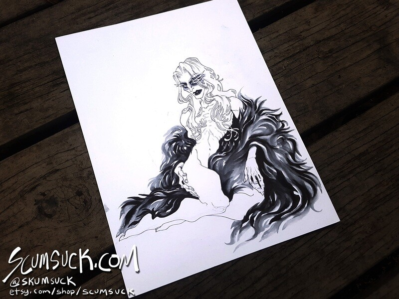 Dethklok Skwisgaar: 9x12 ink drawing