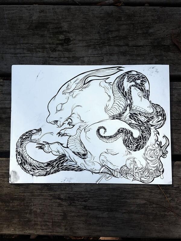 RABBIT X SNAKE: 9x12 ink drawing