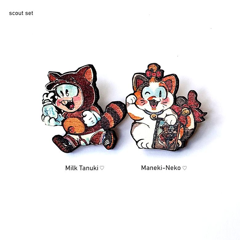 "Tanuki and Neko Wooden Pins (1.5"")"
