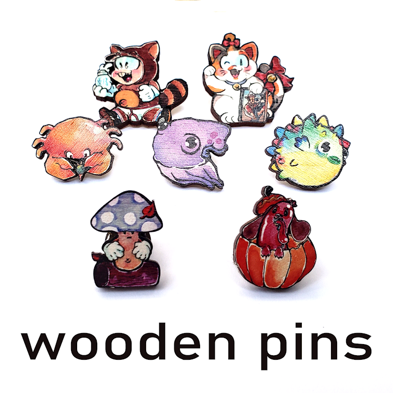 """Summer and Fall Wooden Pins (1"""")"""