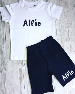 Bold Name T-shirt And Shorts Set